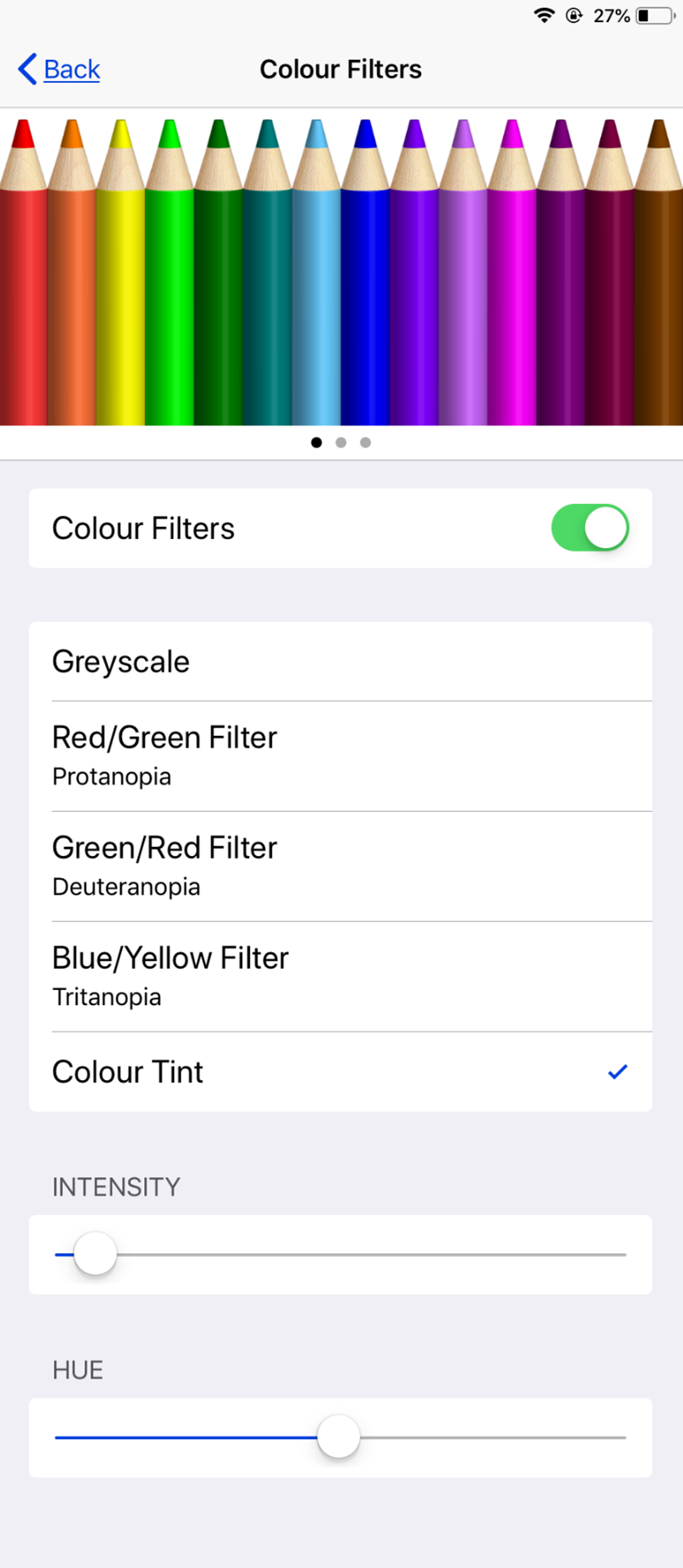 The colour filters settings shows pencils in a rainbow of colours, starting with red and yellow, and ending with purple and brown.