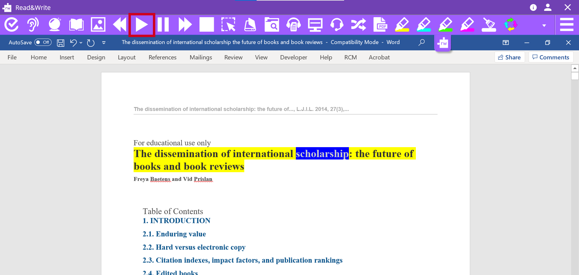 The Read & Write toolbar open with a Word document. The Play button is highlighted. The text is Word is highlighted as it is read aloud.