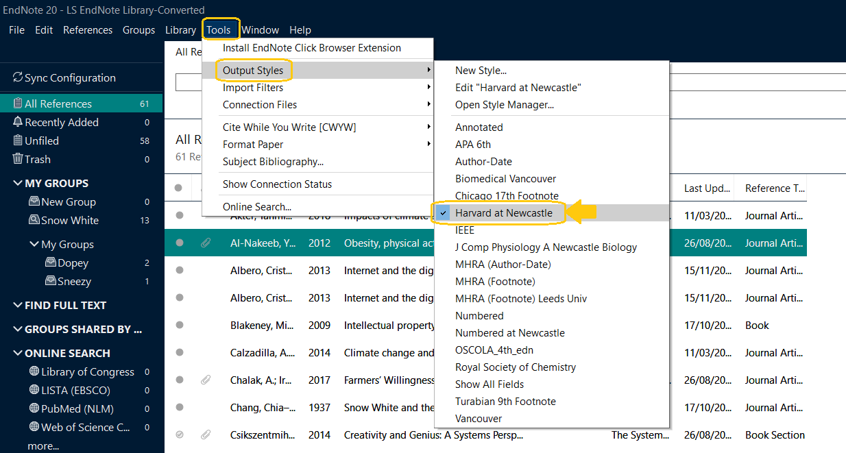Screenshot of EndNote 20 and where to find Tools>output styles>Harvard at Newcastle