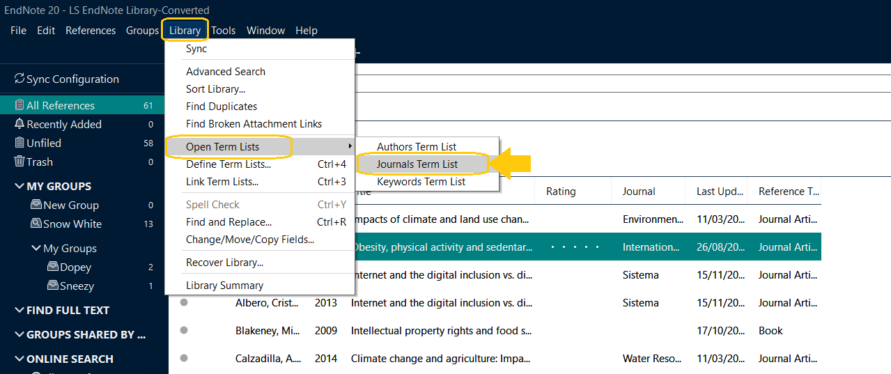 Screenshot of where to find Terms List on EndNote 20 - under Library tab