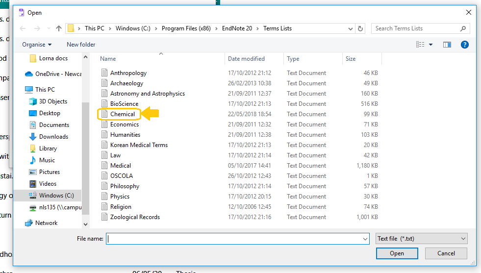 Screenshot of EndNote 20 terms list on PC drive to import