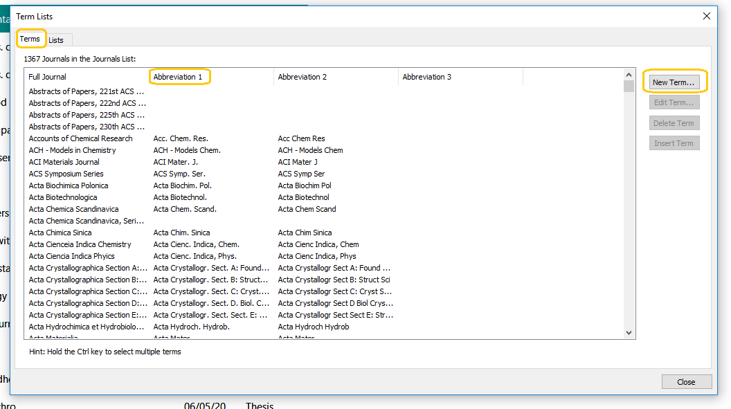Screenshot of imported Term Lists in EndNote 20