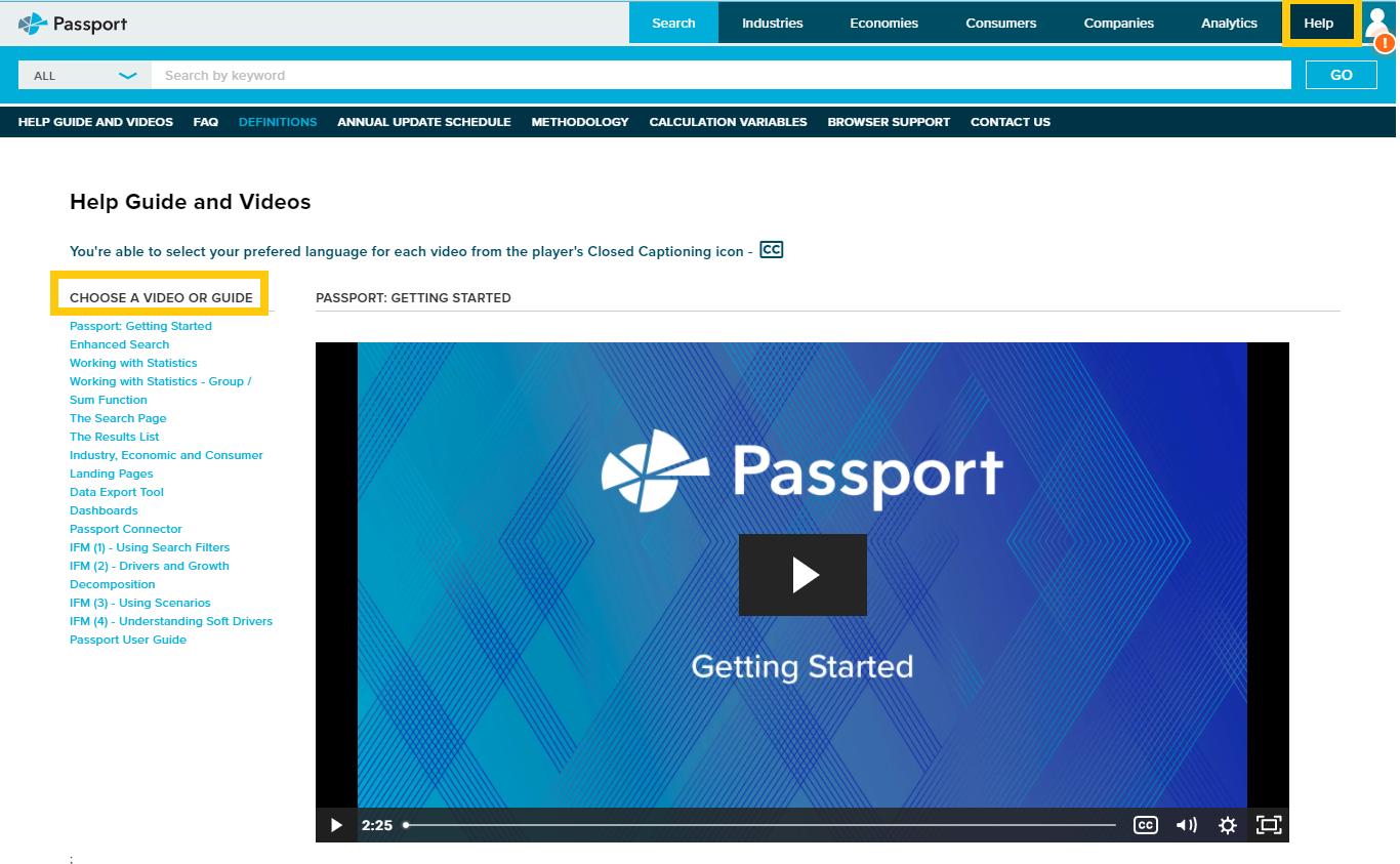 Screen shot of Help section in Passport