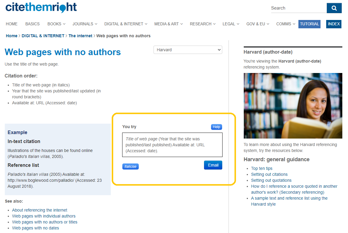 Screenshot of Cite them Right showing where you can practice referencing