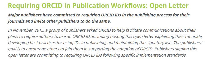 ORCID Open Letter from Publishers