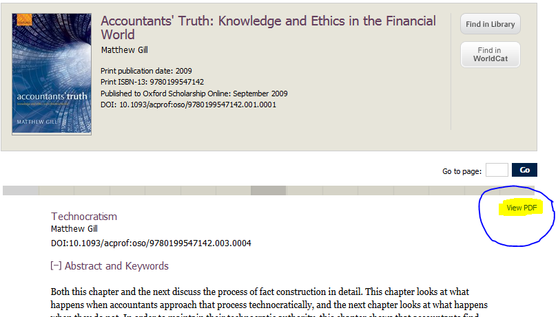 Screenshot of Oxford Scholarship Online showing link to view pdf