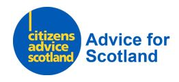 Citizens Advice Scotland logo. Advice for Scotland