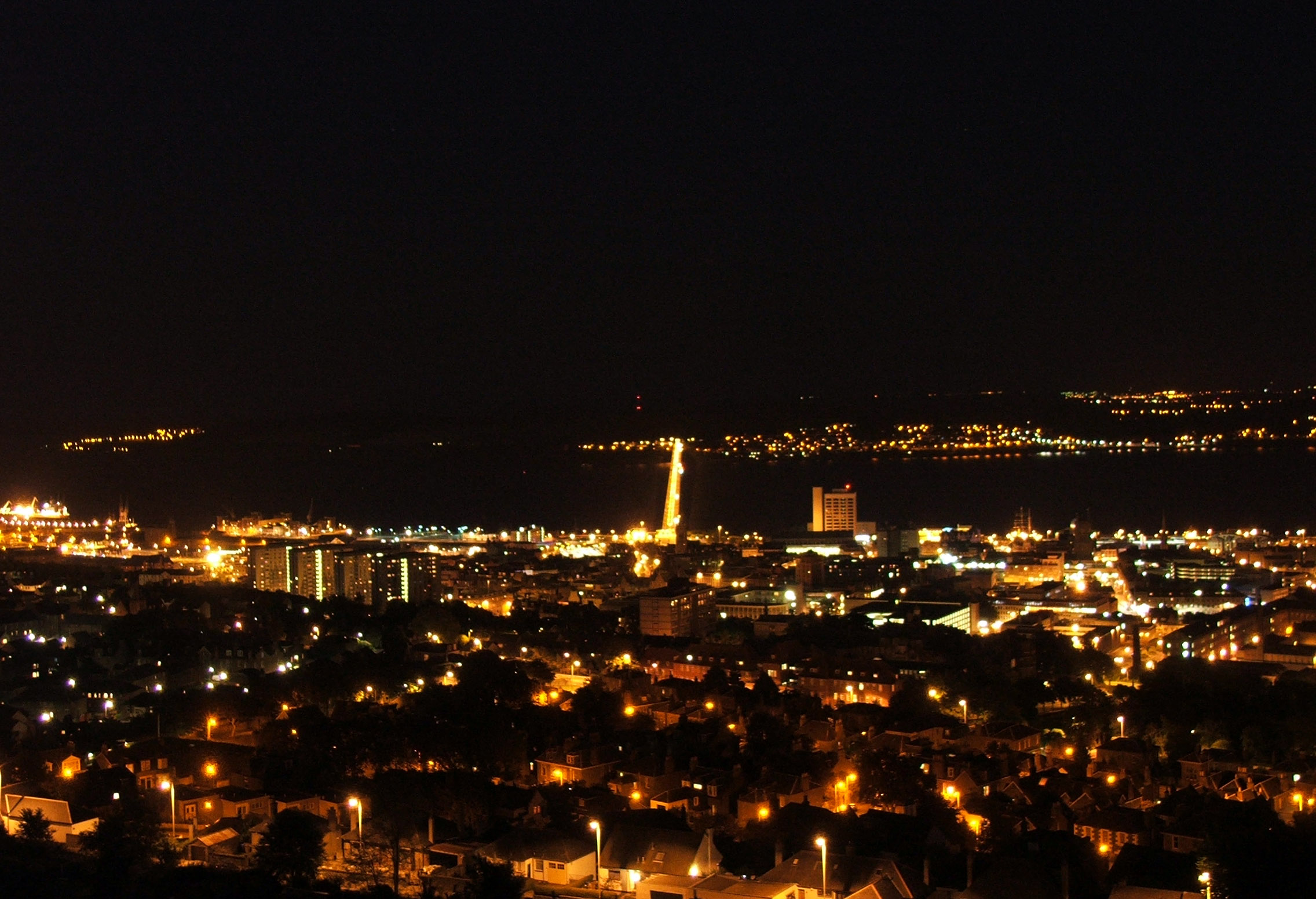 Dundee at night from the Law Hill