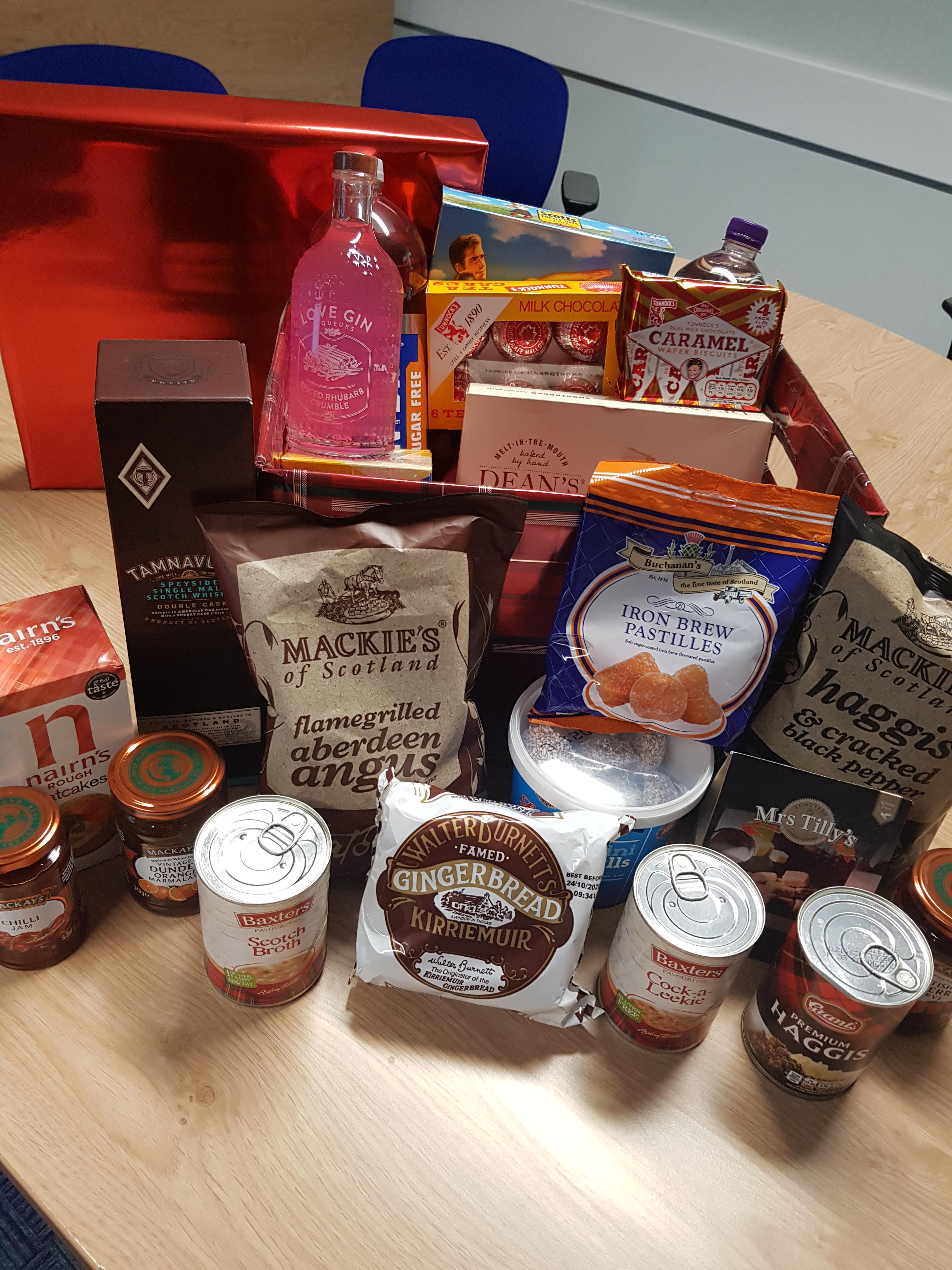 Hamper of Scottish food and drink