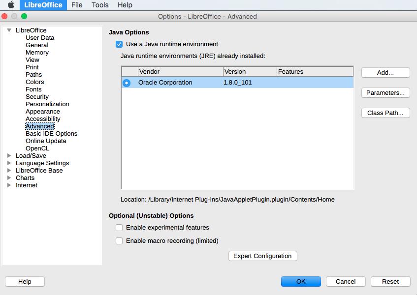 Comment activer Java dans Libreoffice