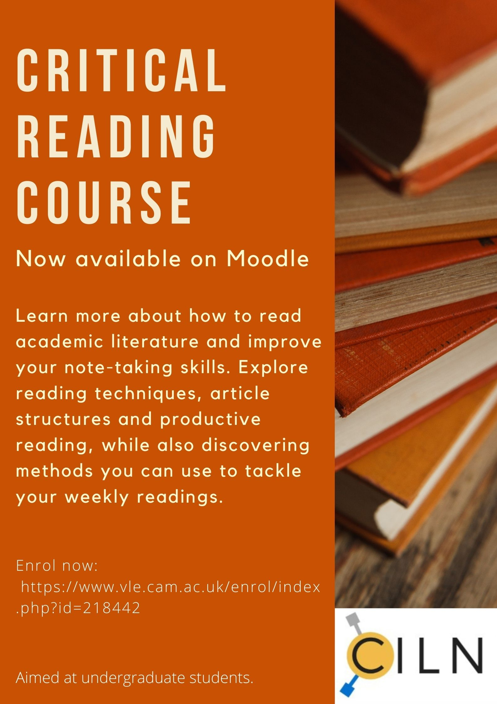 An advert for a Critical Reading course available on Moodle. Click on the image to link to the course on Moodle