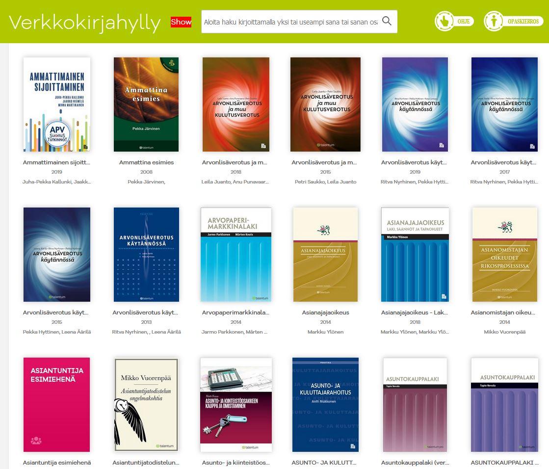 kuvakaappaus Verkkokirjahyllyn e-kirjoista.