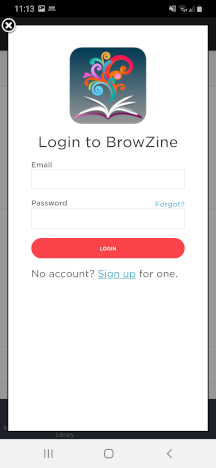 Login to the personalised features of BrowZine