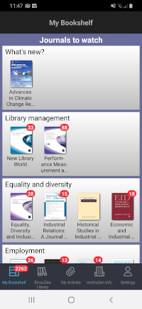 BrowZine mobile bookshelf