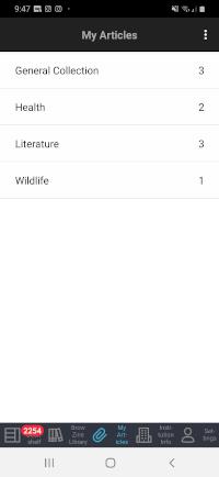 My Articles menu screen