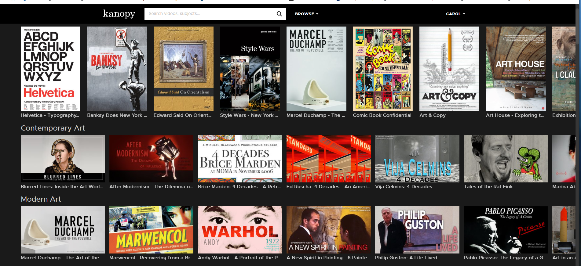 Kanopy provides access to critically-acclaimed movies, inspiring documentaries, award-winning foreign films and more.
