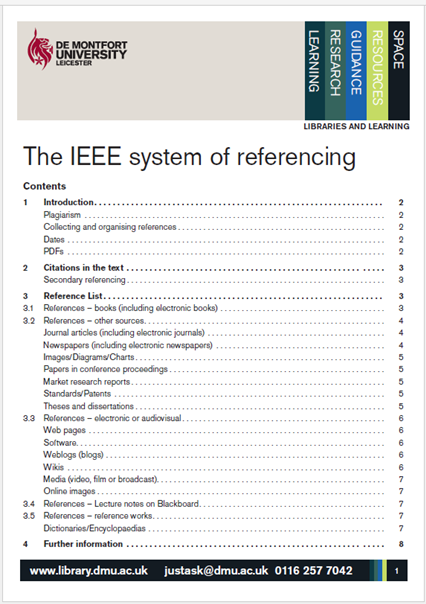 Link to IEEE Referencing Guide