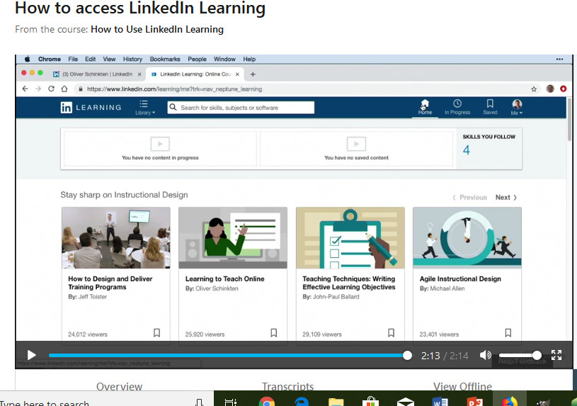 Video How to access LinkedIn Learning