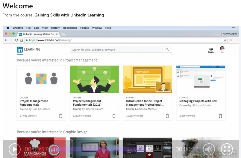 Gaining Skills with LinkedIn Learing