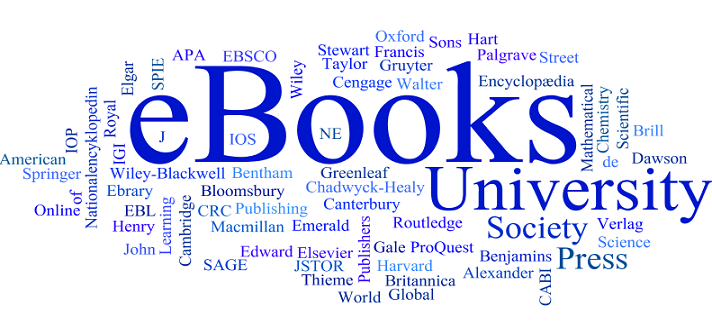 A blue wordcloud of the names of publishers