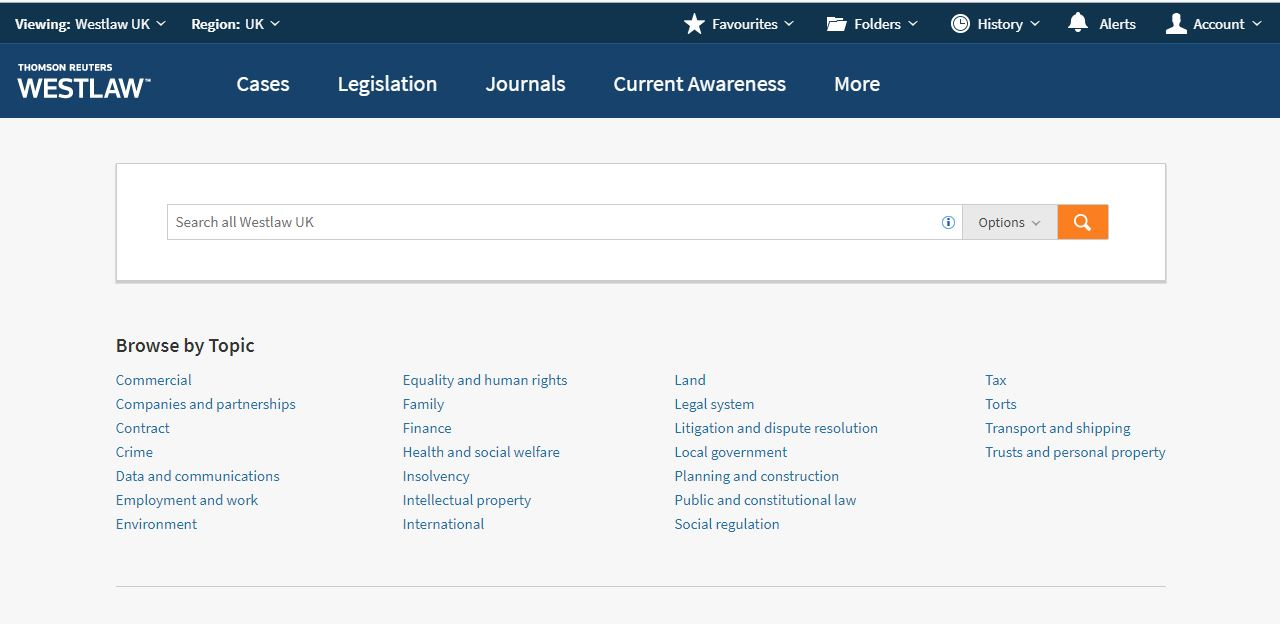 Westlaw UK interface