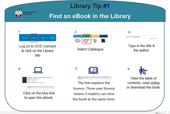 image of a tip card on finding ebooks