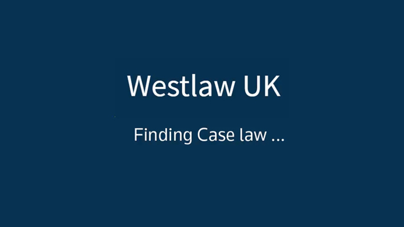 Image of tutorial on Westlaw UK