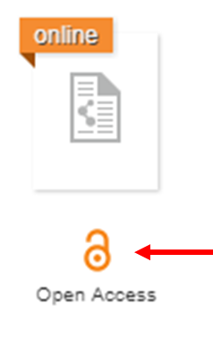 screenshot of Open Access symbol in Library Search
