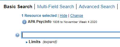 APA PsycInfo basis Search