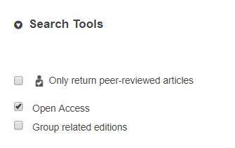 WorldCat advanced open access filter