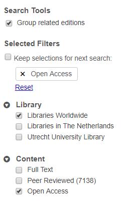 WorldCat open access filter