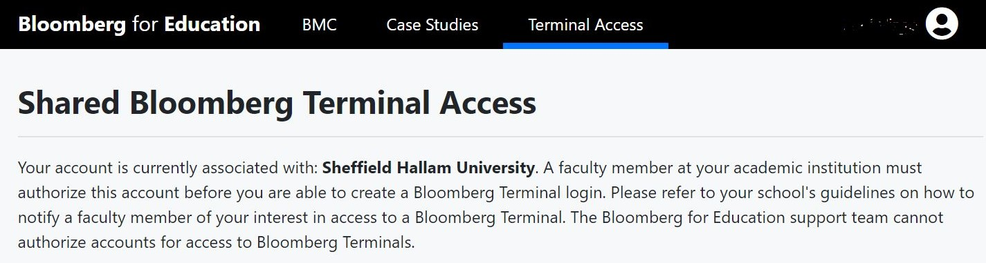 Terminal Access Screen