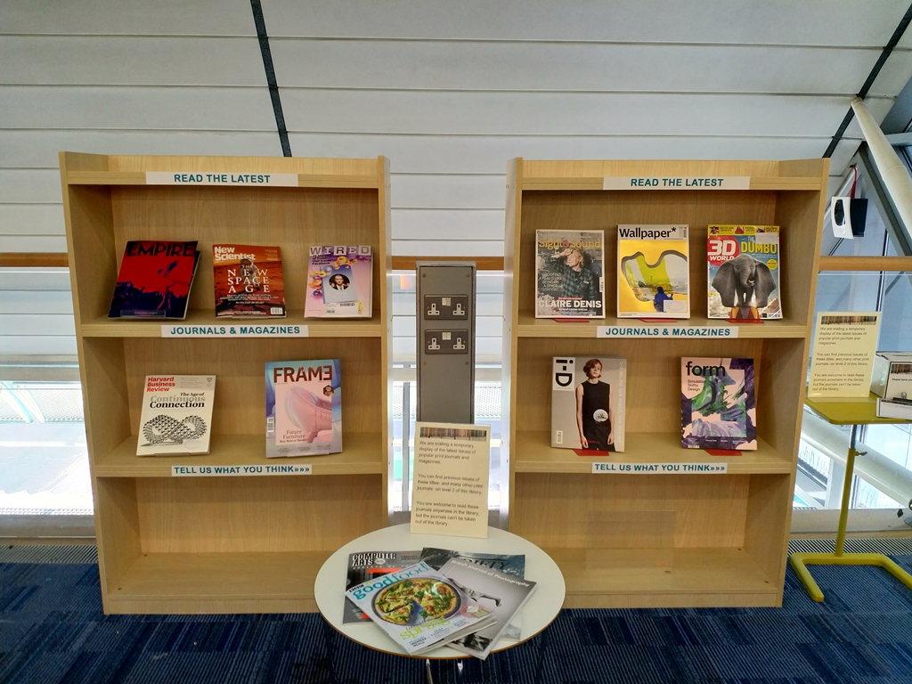 This is an image of the journal display on level 4 of the Adsetts Library.