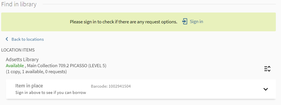 Image of where to sign in to Library Search