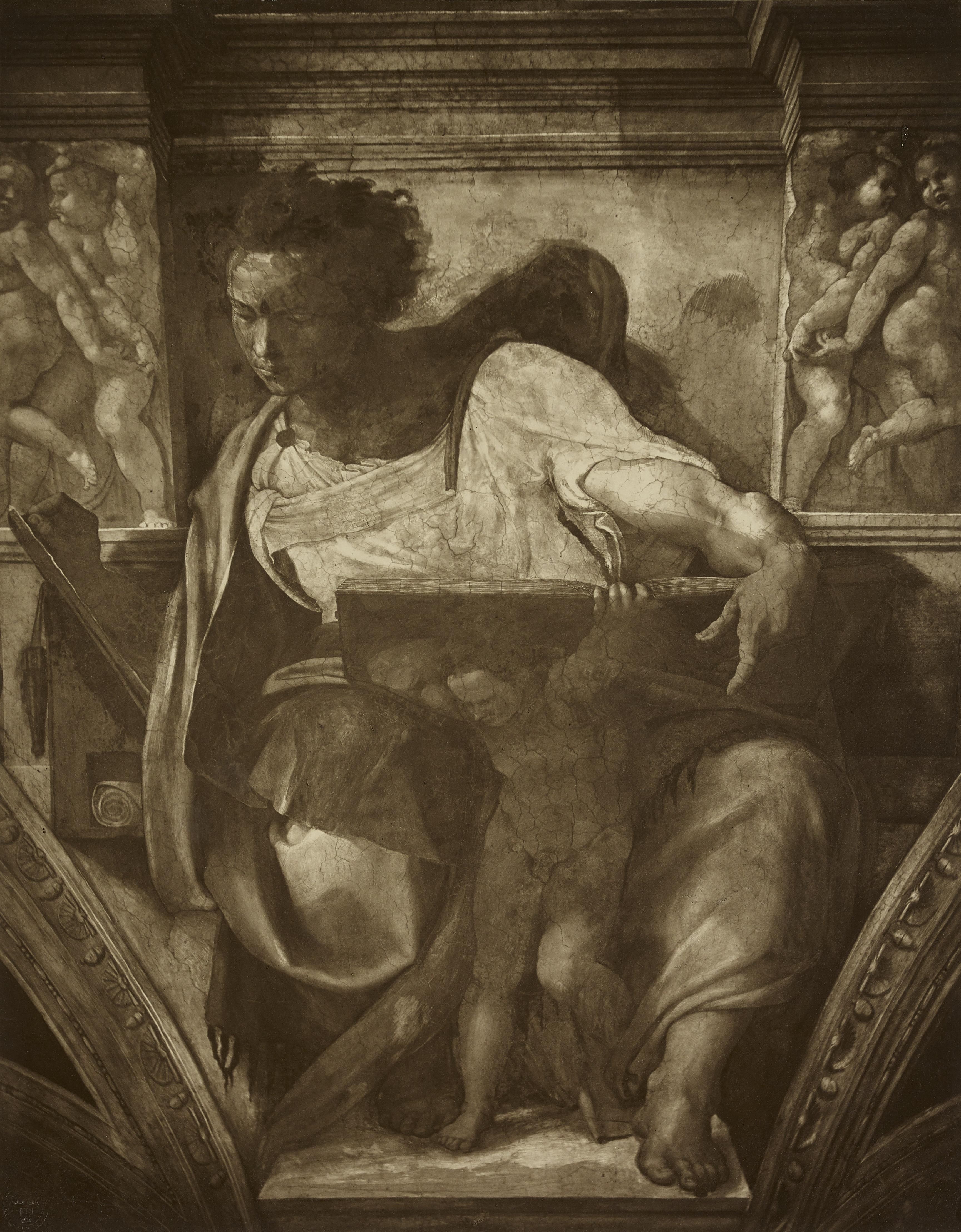 Adolph Braun black and white photograph of the Sistine Chapel fresco showing Prophet Daniel