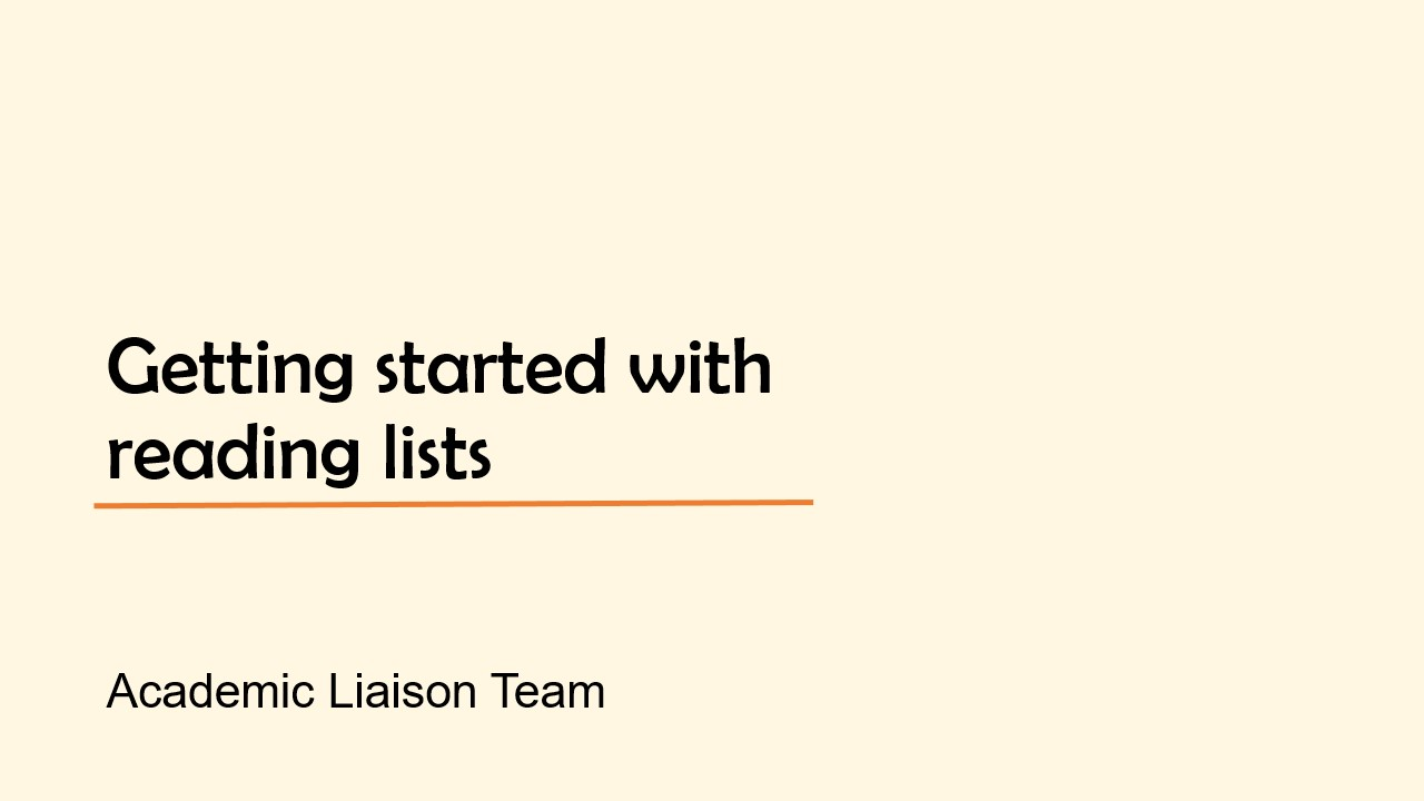 Title slide for Getting started with reading lists