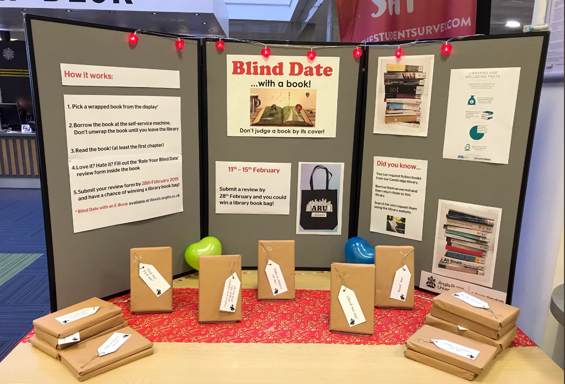 A photo of the Blind Date with a Book display at Chelmsford