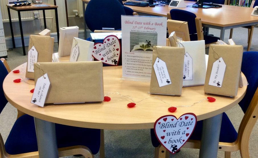 A photo of the Blind Date with a Book display at Peterborough