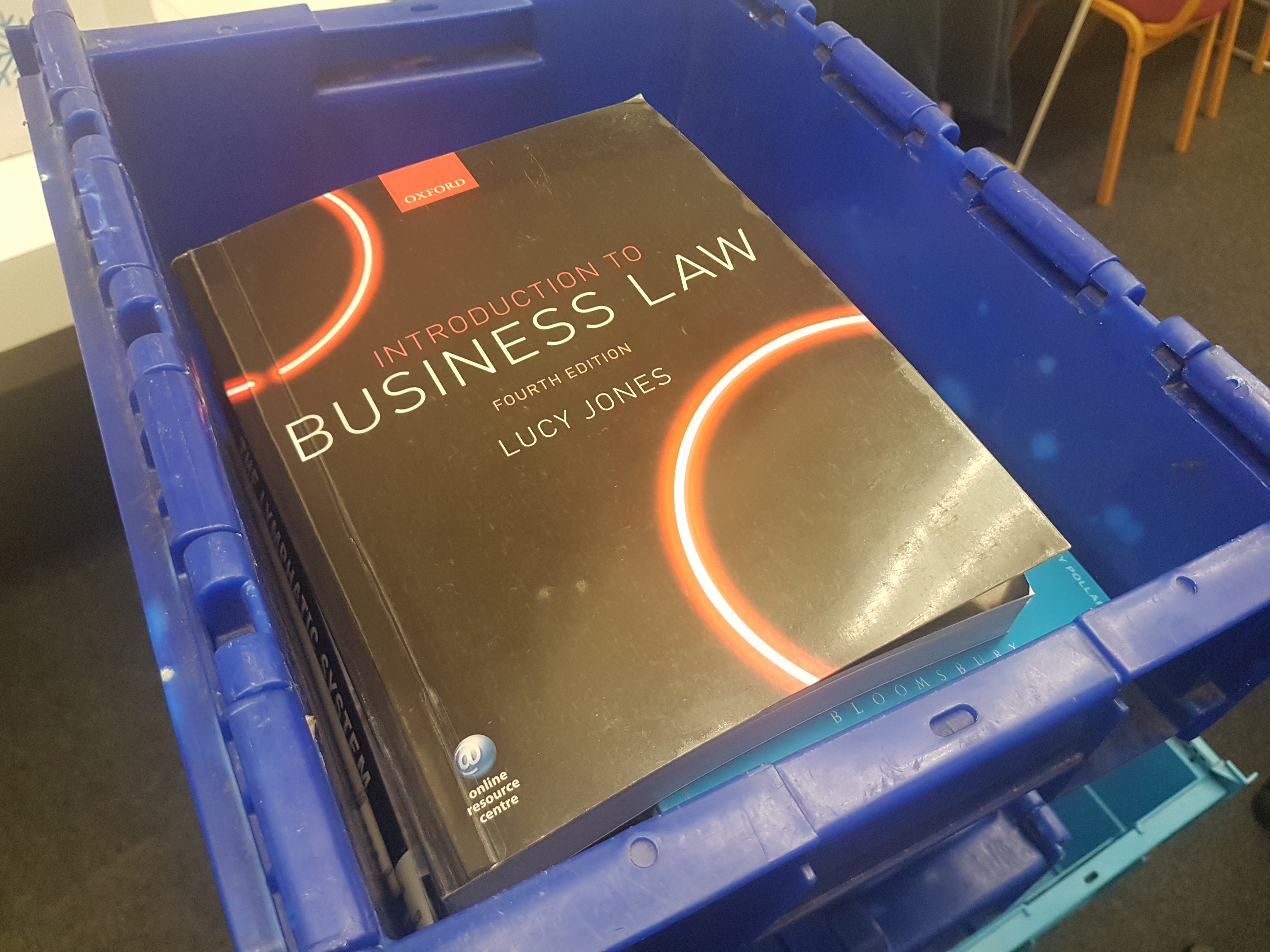 Photo of book in a transit box