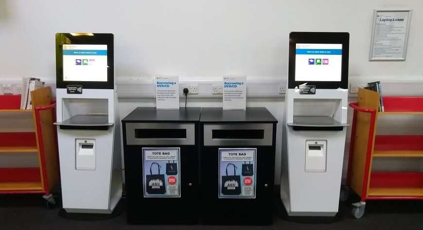 A photo of the new self-service machines set up in the library.