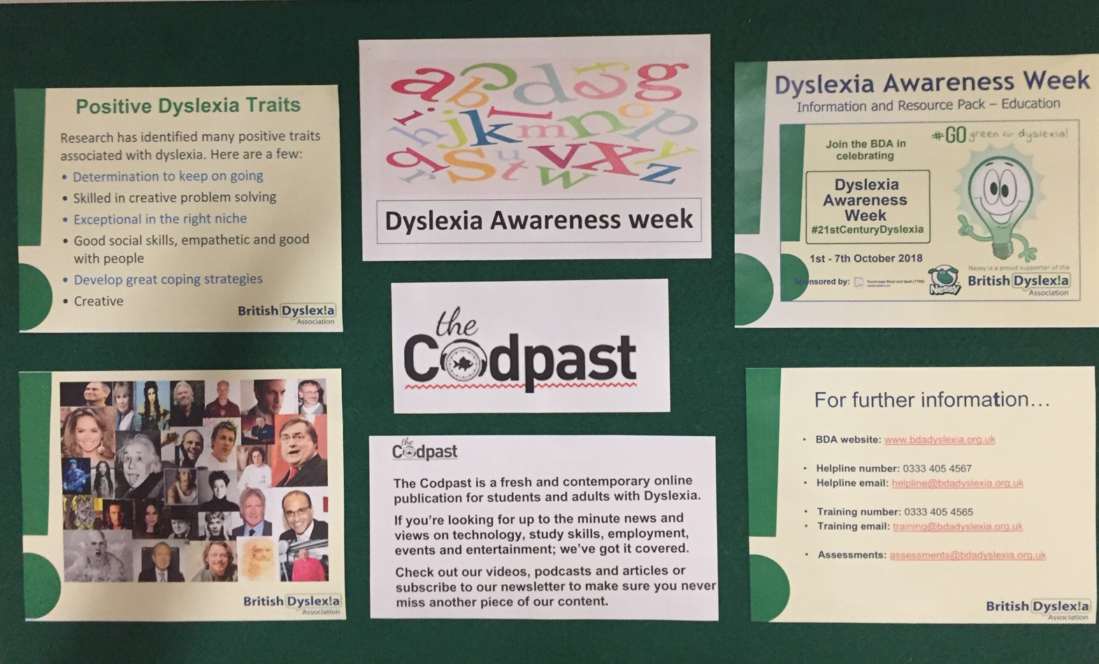 A photo of the dyslexia display containing posters for dyslexia support and further information.