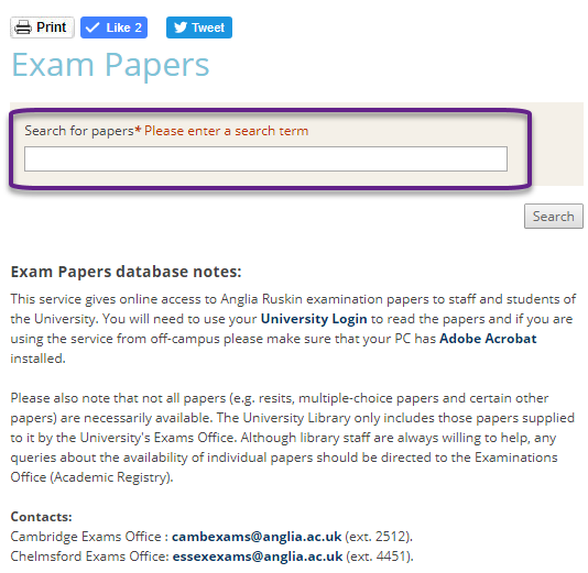 Screen shot of the exam paper search box