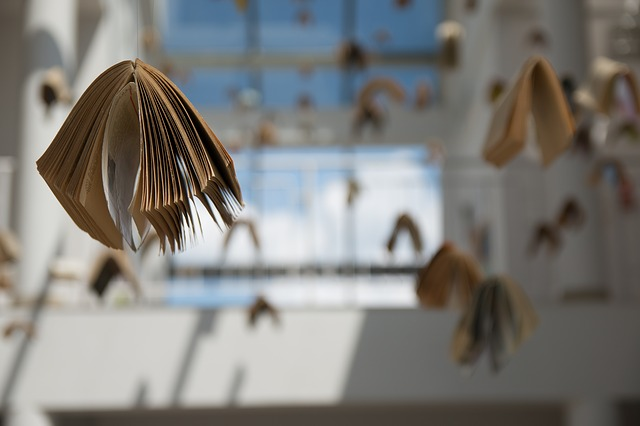 A photo of books suspended from the ceiling.