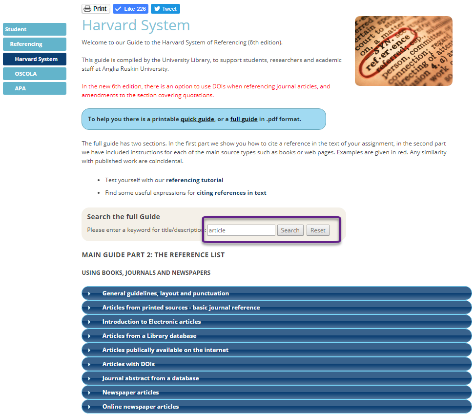 Screen shot of the Harvard referencing guide
