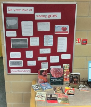 Display of love poems and Valentines themed books at Chelmsford