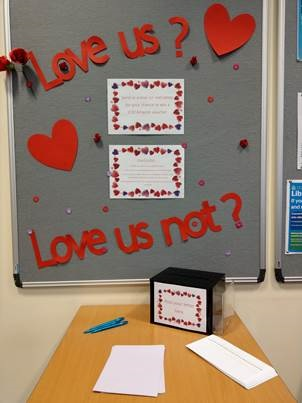 Display of love letters at Peterborough library