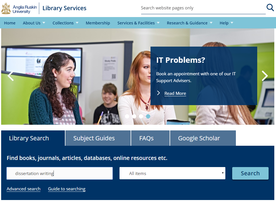 Screenshot of the library homepage