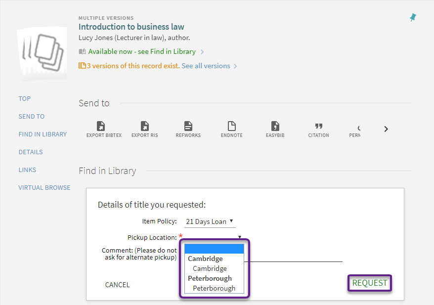 Screen shot from the library catalogue depicting request process