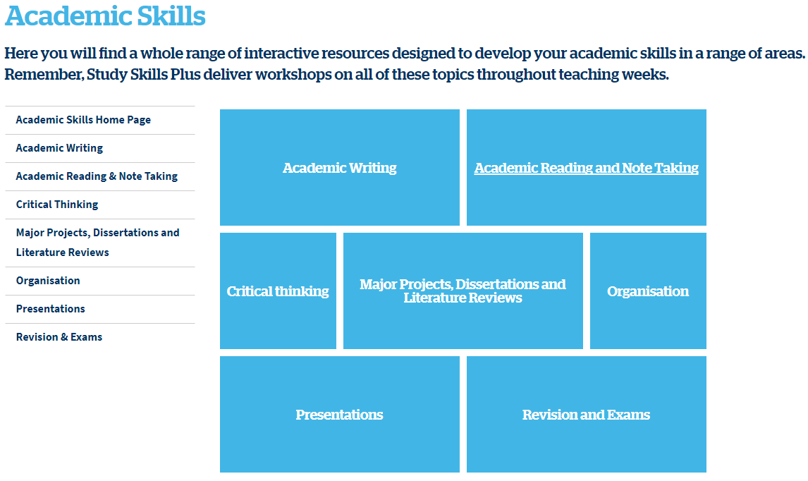 Screen shot of the Academics Skills webpage from Study Skills Plus