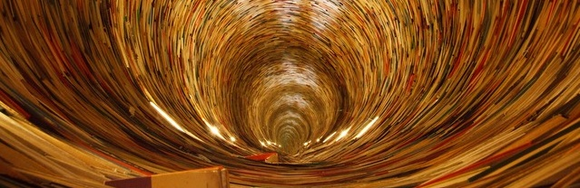 A photo of a tunnel lined with books.